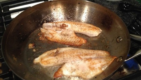 fish on pan