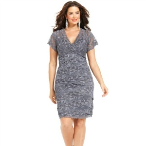 Marina Plus Size Cap-Sleeve Lace Cocktail Dress-300