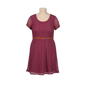 belted short sleeve lace plus size dress