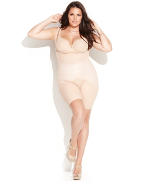 Star Power by Spanx Plus Size Firm Control Lady Luxe Open Bust Mid-Thigh Body Shaper