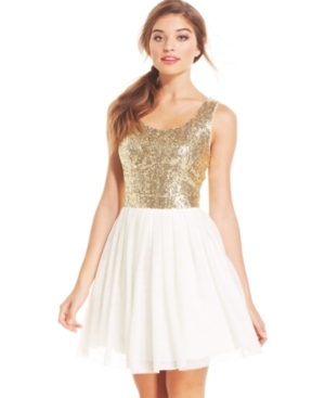 B Darlin Juniors' Sequin Pleated A-Line Dress