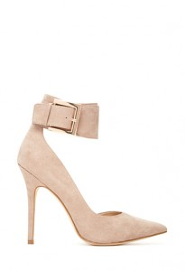 FOREVER 21 Pointed Ankle-Strap Heels Taupe 10