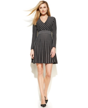Calvin Klein Long-Sleeve Striped Sweater Dress