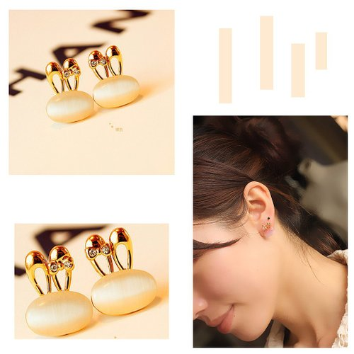 Gold Bunny Shape Earrings