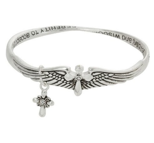 Heirloom Finds Angel Wings Serenity Prayer Silver Tone Crystal