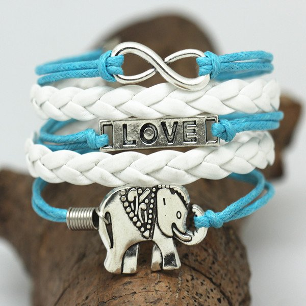 Factory-Price-Jewelry-Vintage-Elephant-Love-Multilayer-Rope-Bracelets-Leather-Bracelets-Wholesale-Bangle